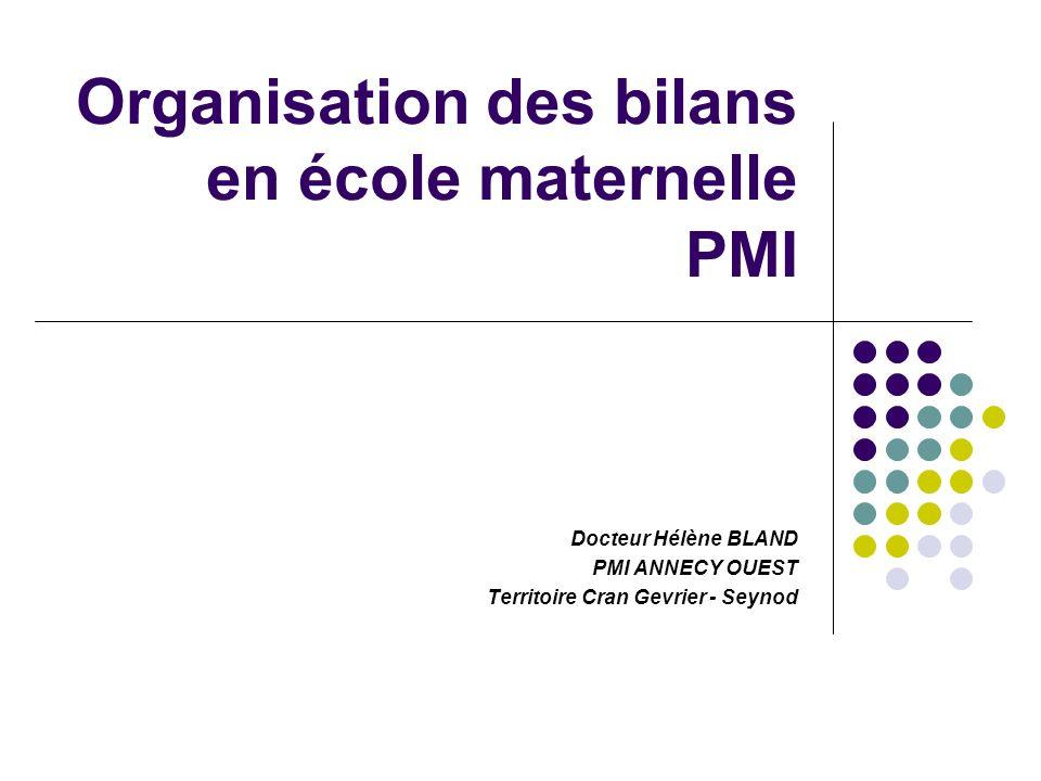 Organisation des bilans en école maternelle PMI