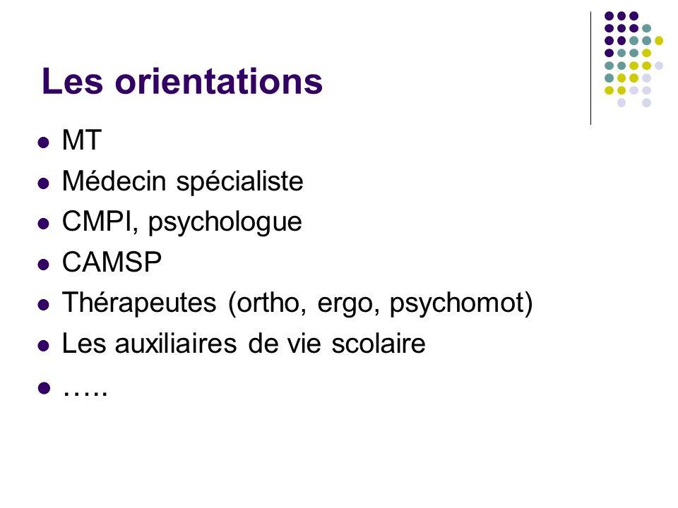 Les orientations ….. MT Médecin spécialiste CMPI, psychologue CAMSP