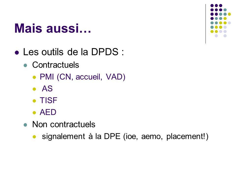 Mais aussi… Les outils de la DPDS : Contractuels Non contractuels