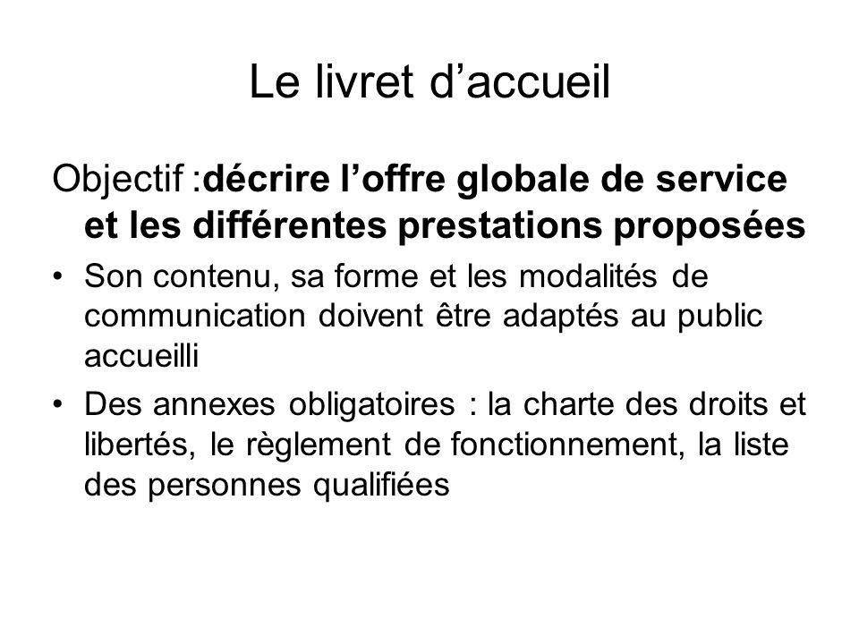 Le livret d'accueilObjectif :décrire l'offre globale de service et les différentes prestations proposées.