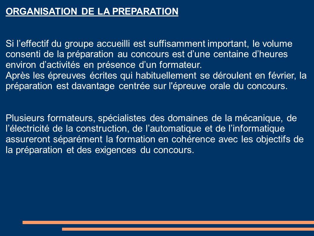 ORGANISATION DE LA PREPARATION