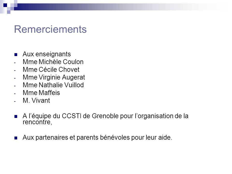 Remerciements Aux enseignants Mme Michèle Coulon Mme Cécile Chovet