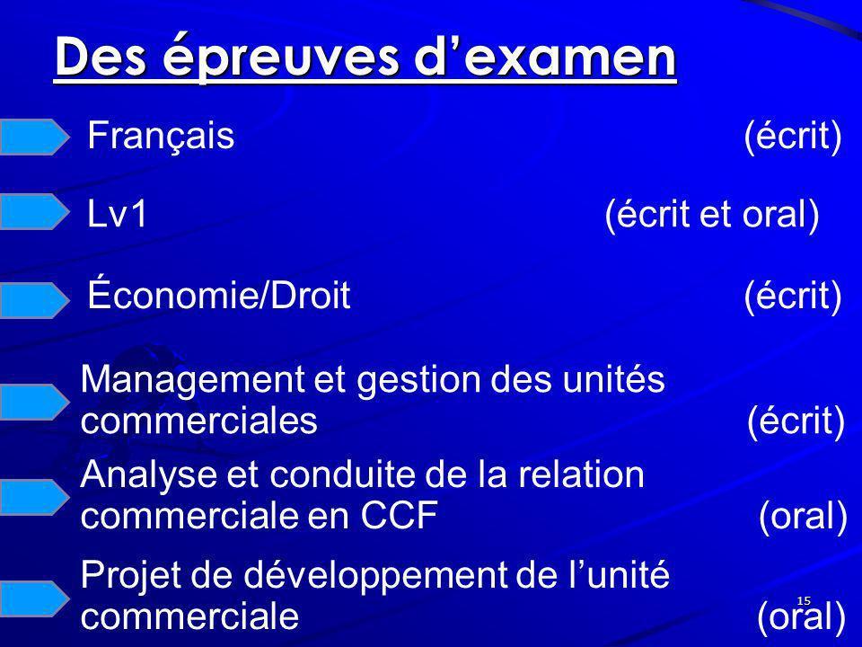 Des épreuves d'examen Français (écrit) Lv1 (écrit et oral)