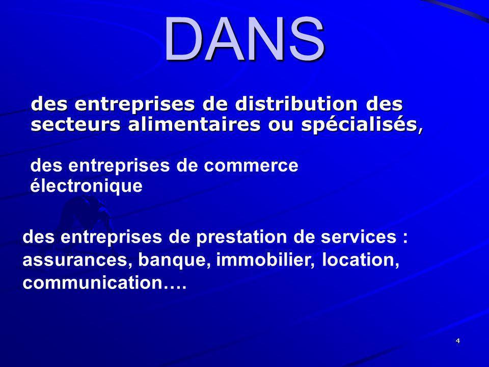 DANS des entreprises de distribution des