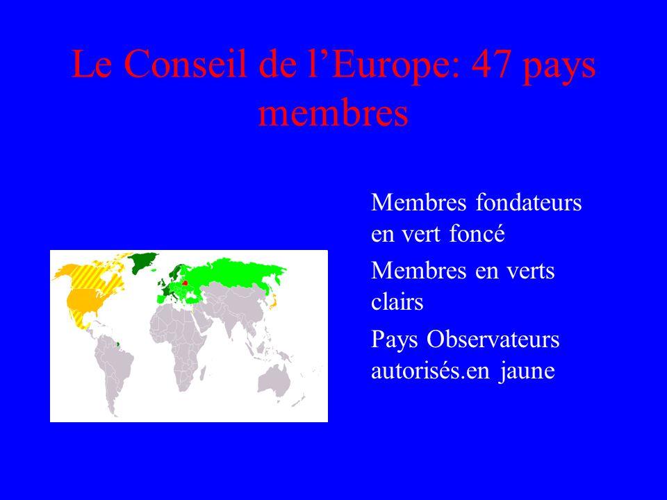 Le Conseil de l'Europe: 47 pays membres