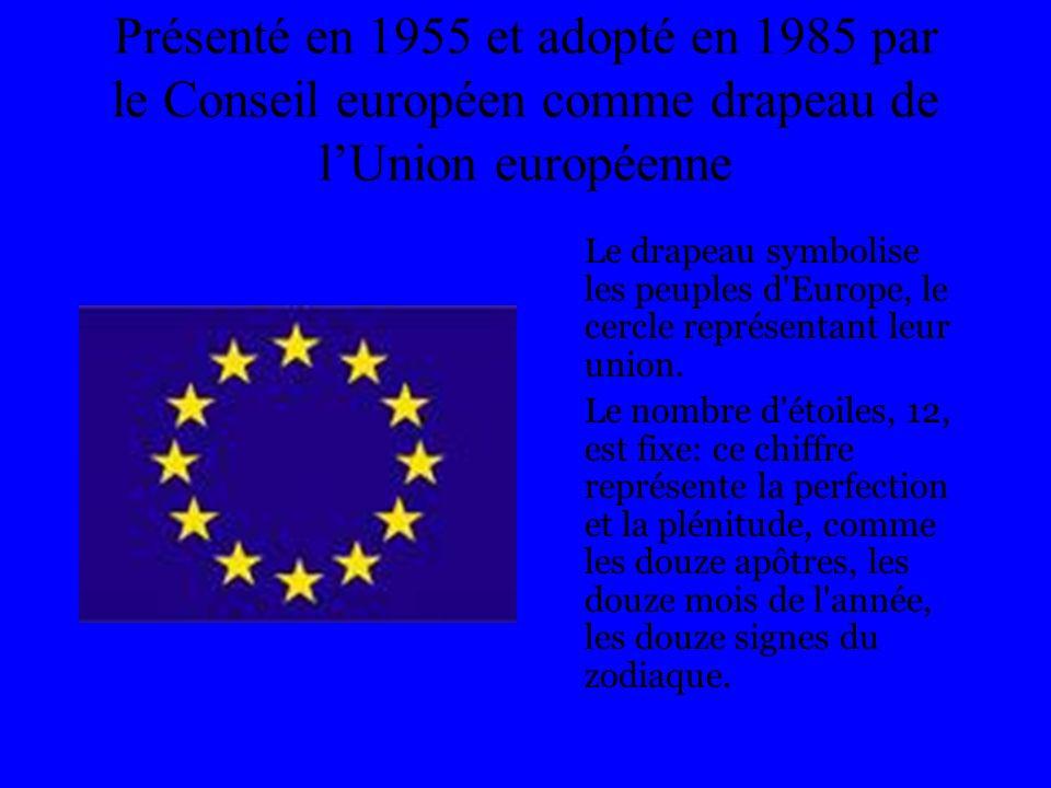 Présenté en 1955 et adopté en 1985 par le Conseil européen comme drapeau de l'Union européenne