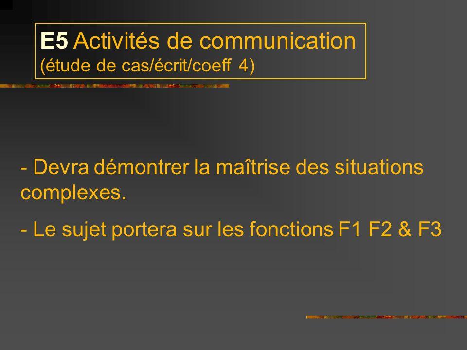 E5 Activités de communication (étude de cas/écrit/coeff 4)