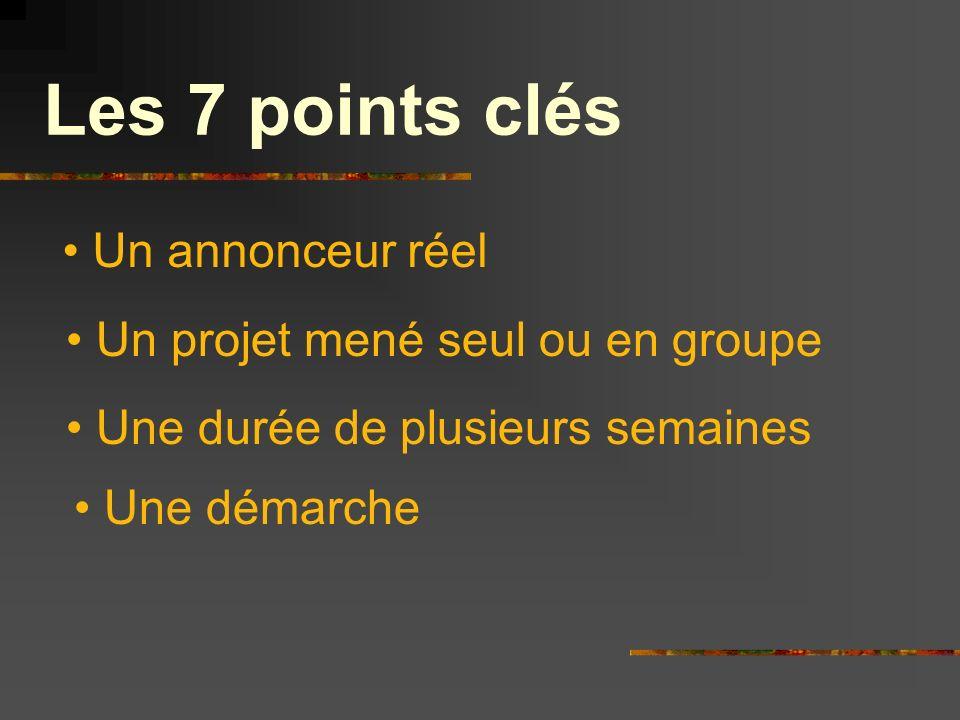 Les 7 points clés Un annonceur réel Un projet mené seul ou en groupe