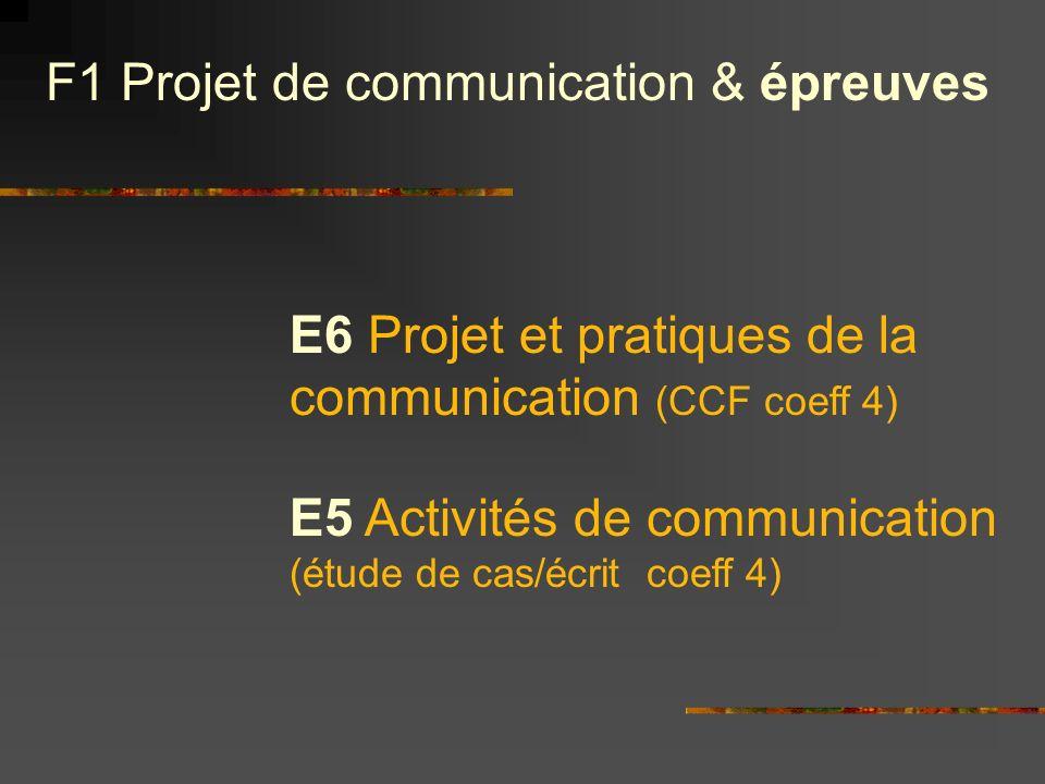F1 Projet de communication & épreuves