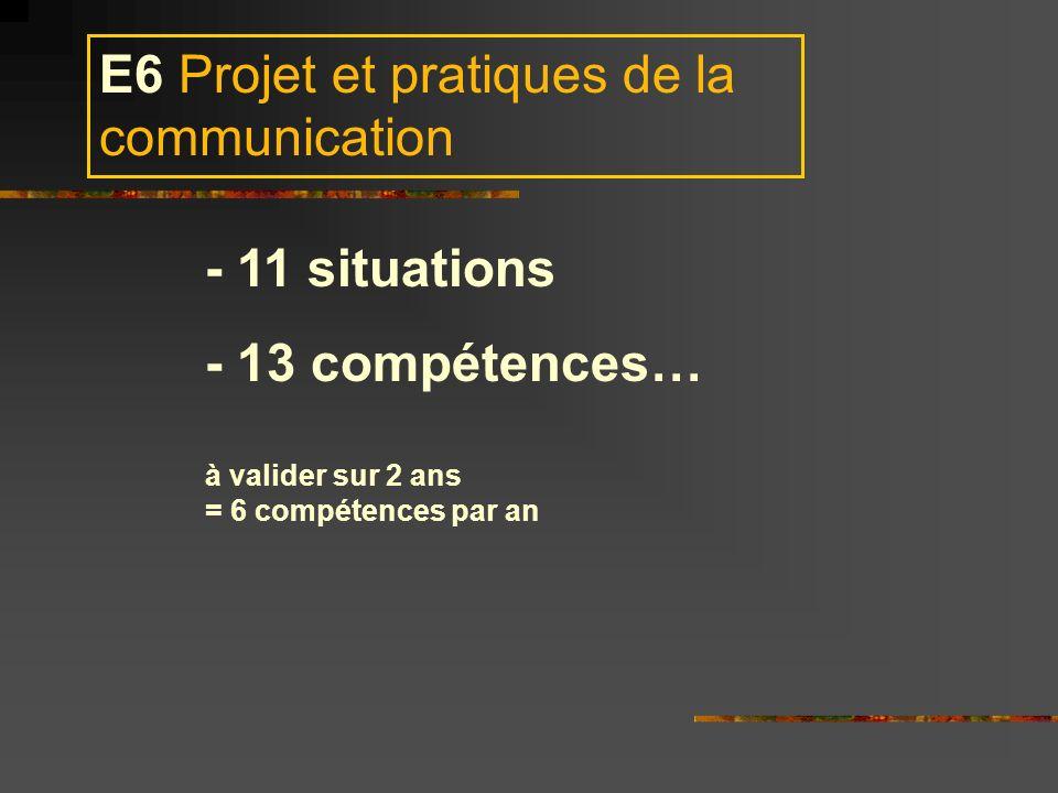 E6 Projet et pratiques de la communication