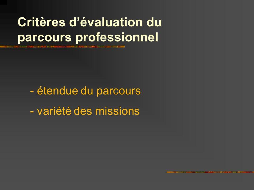 Critères d'évaluation du parcours professionnel