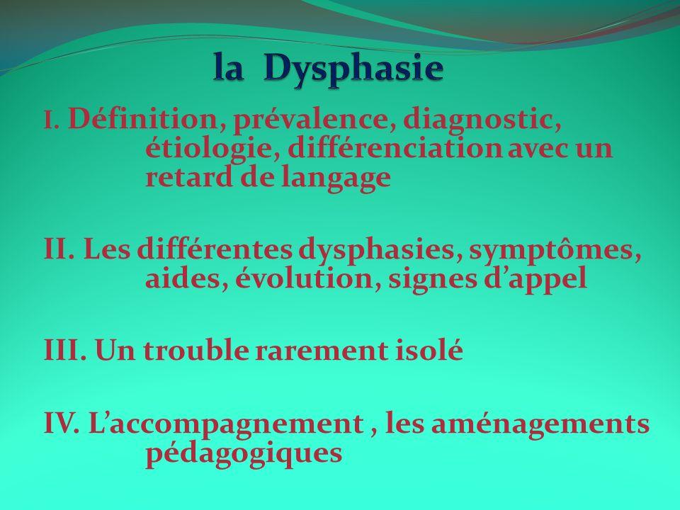 la Dysphasie I. Définition, prévalence, diagnostic, étiologie, différenciation avec un retard de langage.