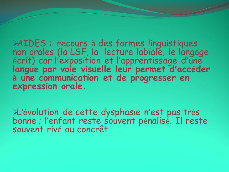 AIDES : recours à des formes linguistiques non orales (la LSF, la lecture labiale, le langage écrit) car l'exposition et l'apprentissage d'une langue par voie visuelle leur permet d'accéder à une communication et de progresser en expression orale.
