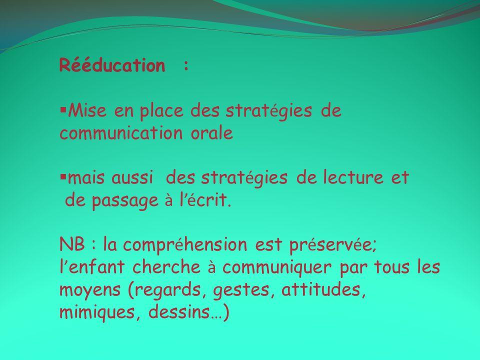 Rééducation : Mise en place des stratégies de communication orale. mais aussi des stratégies de lecture et.