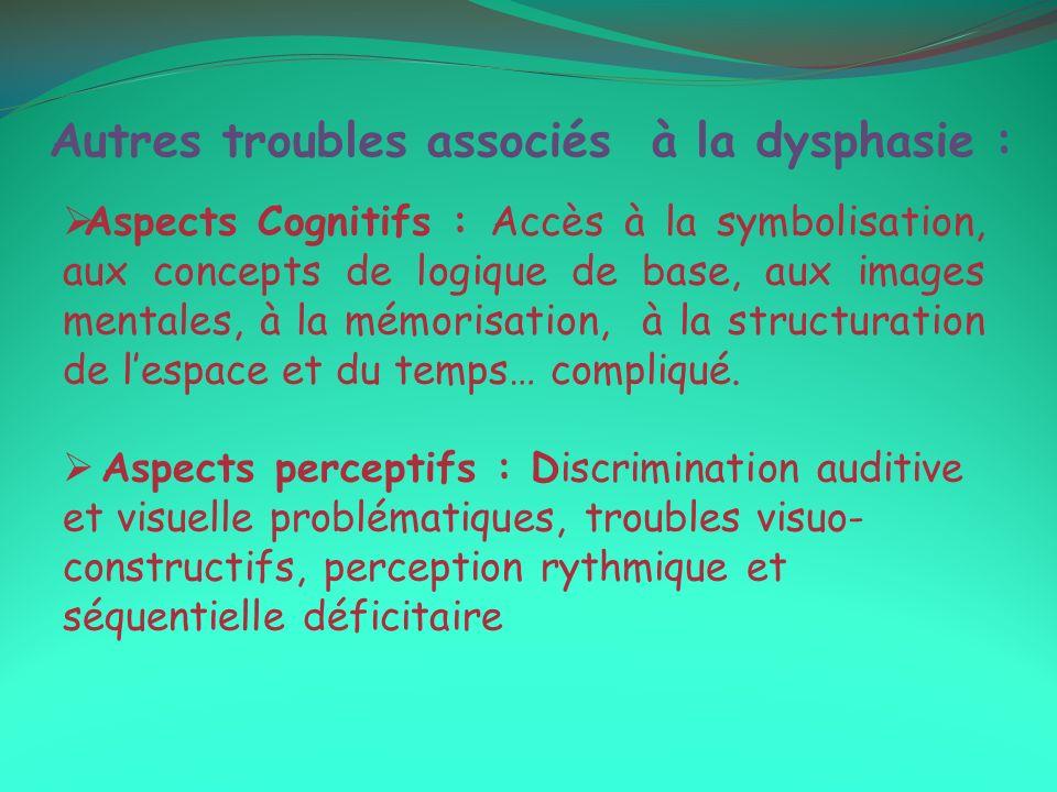 Autres troubles associés à la dysphasie :