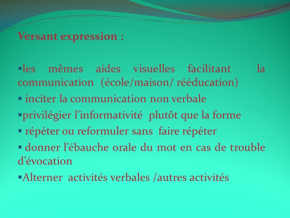 Versant expression : les mêmes aides visuelles facilitant la communication (école/maison/ rééducation)