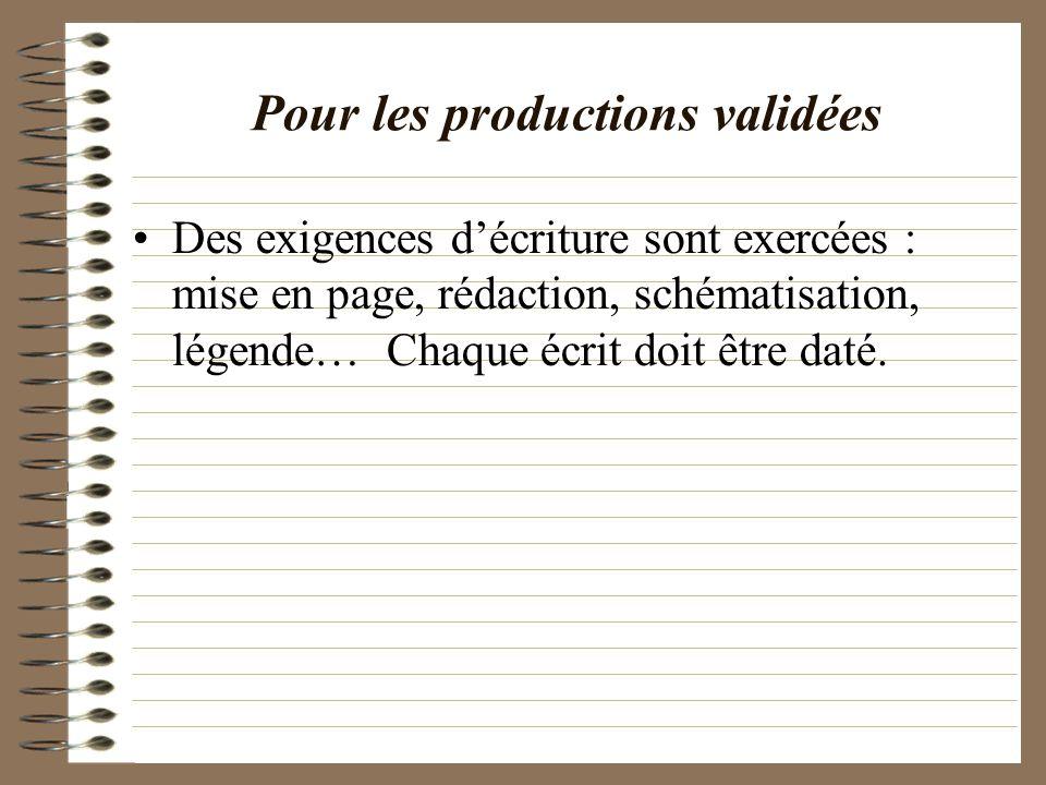 Pour les productions validées