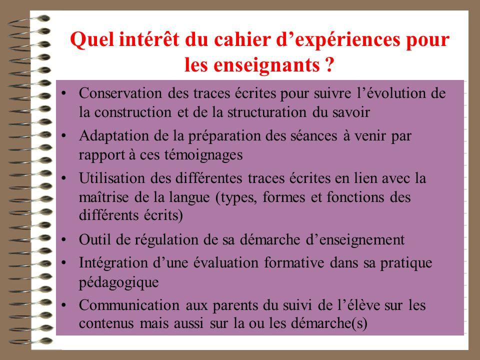 Quel intérêt du cahier d'expériences pour les enseignants