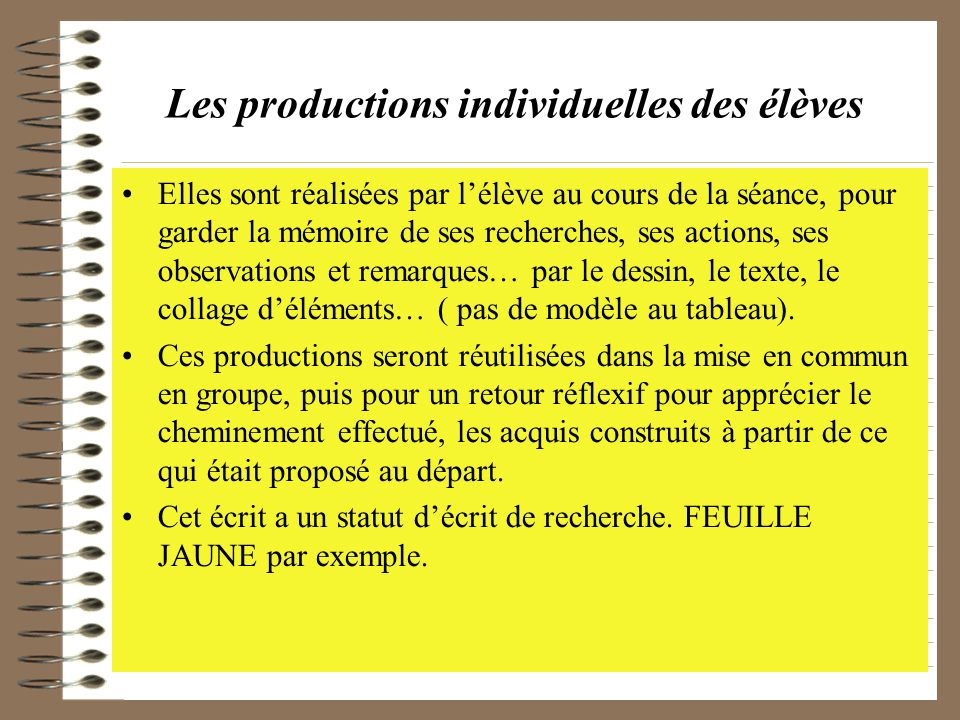 Les productions individuelles des élèves