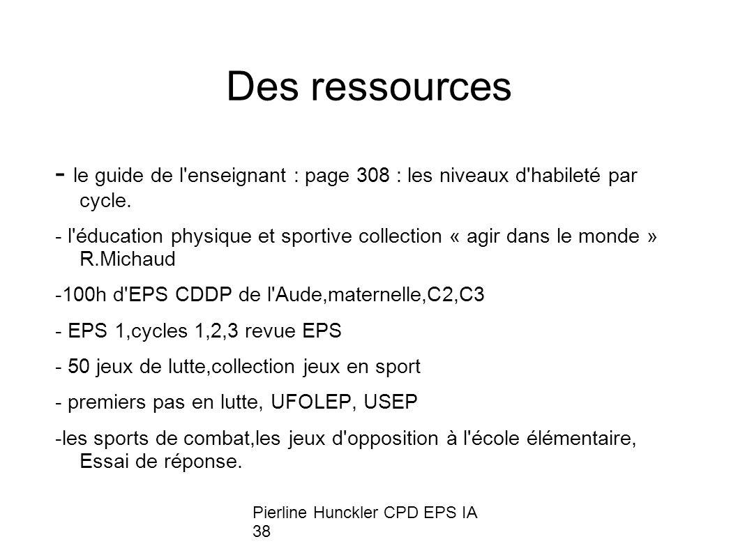Des ressources - le guide de l enseignant : page 308 : les niveaux d habileté par cycle.