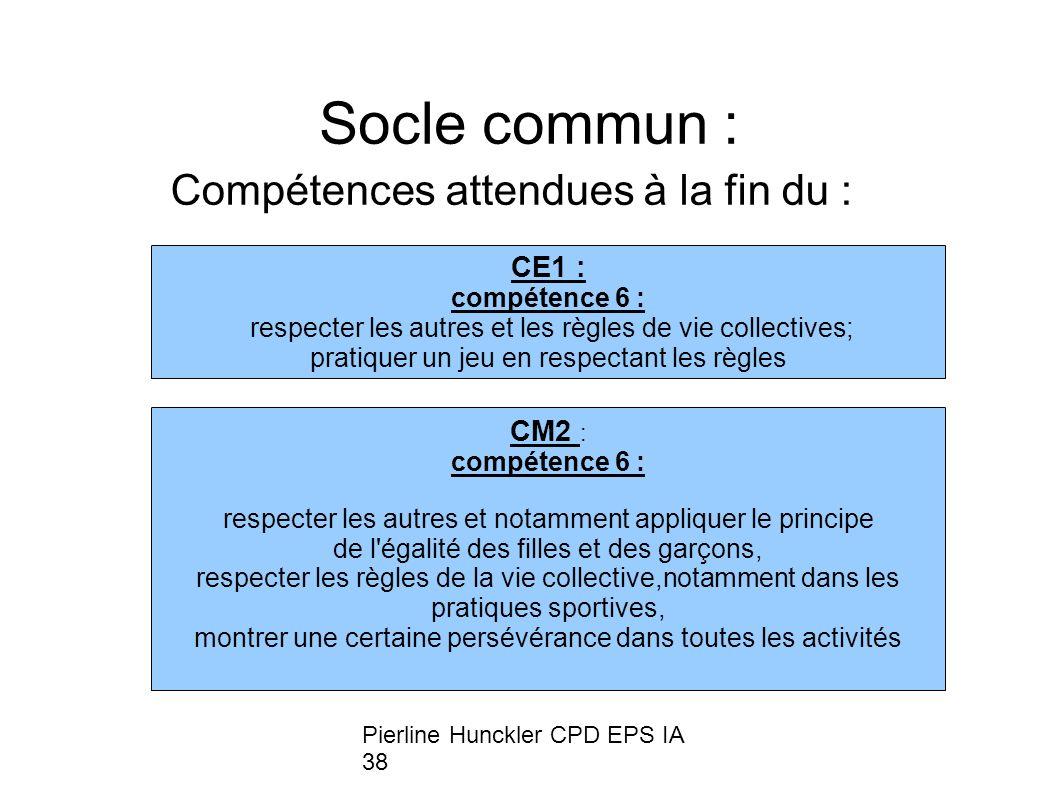 Socle commun : Compétences attendues à la fin du : CE1 : CM2 :