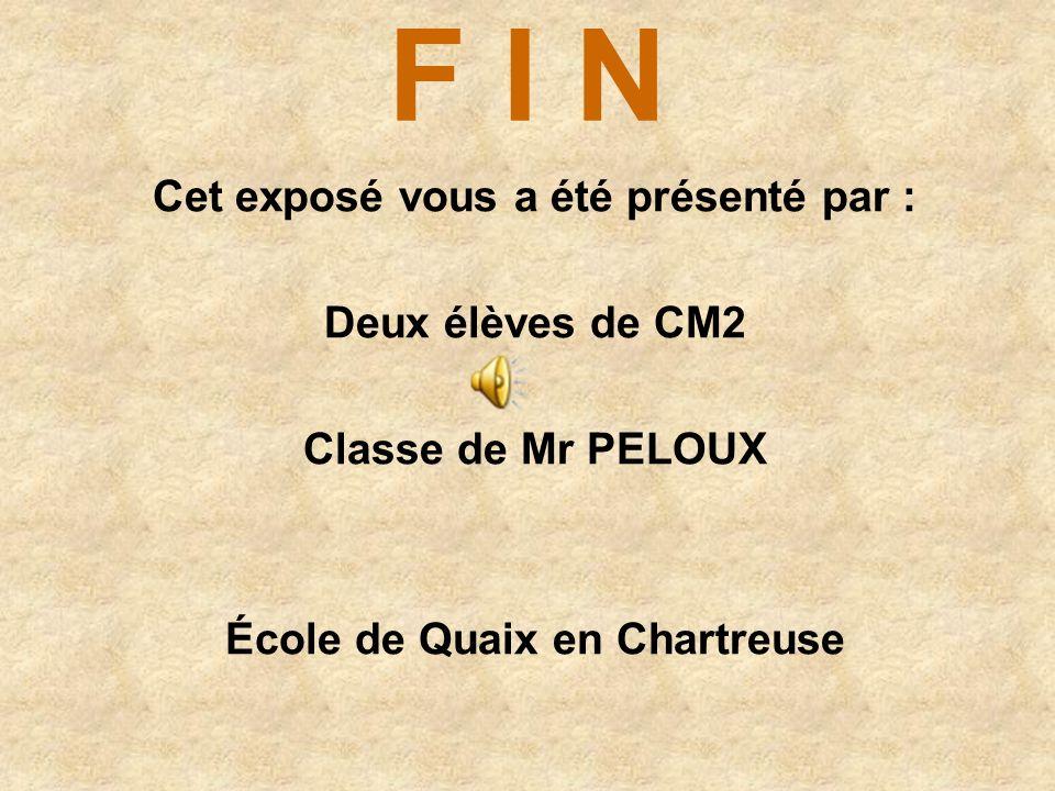 Cet exposé vous a été présenté par : École de Quaix en Chartreuse