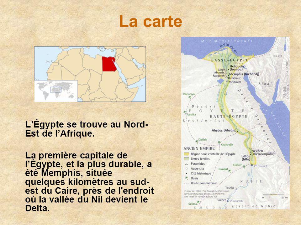La carte L'Égypte se trouve au Nord-Est de l'Afrique.
