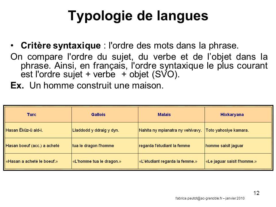Typologie de langues Critère syntaxique : l ordre des mots dans la phrase.