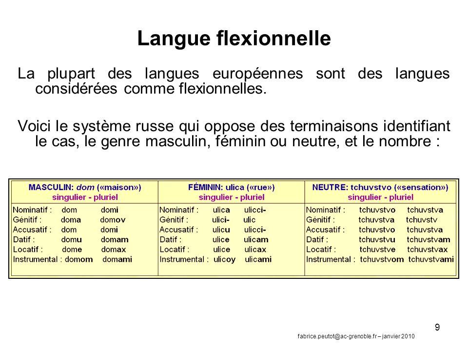 Langue flexionnelle La plupart des langues européennes sont des langues considérées comme flexionnelles.