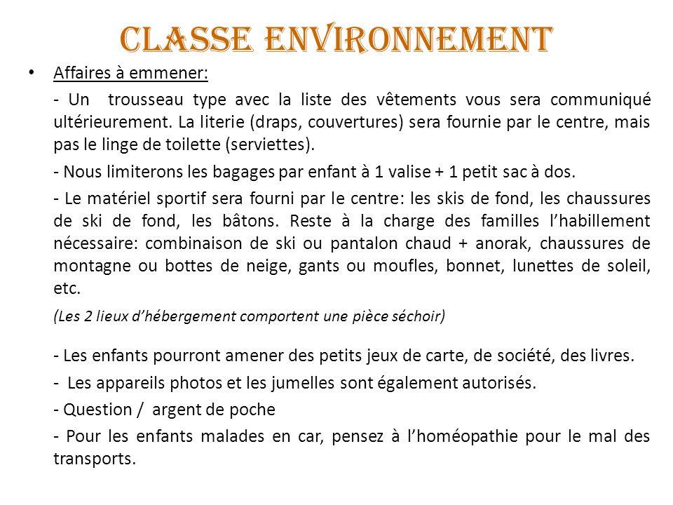 CLASSE ENVIRONNEMENT Affaires à emmener: