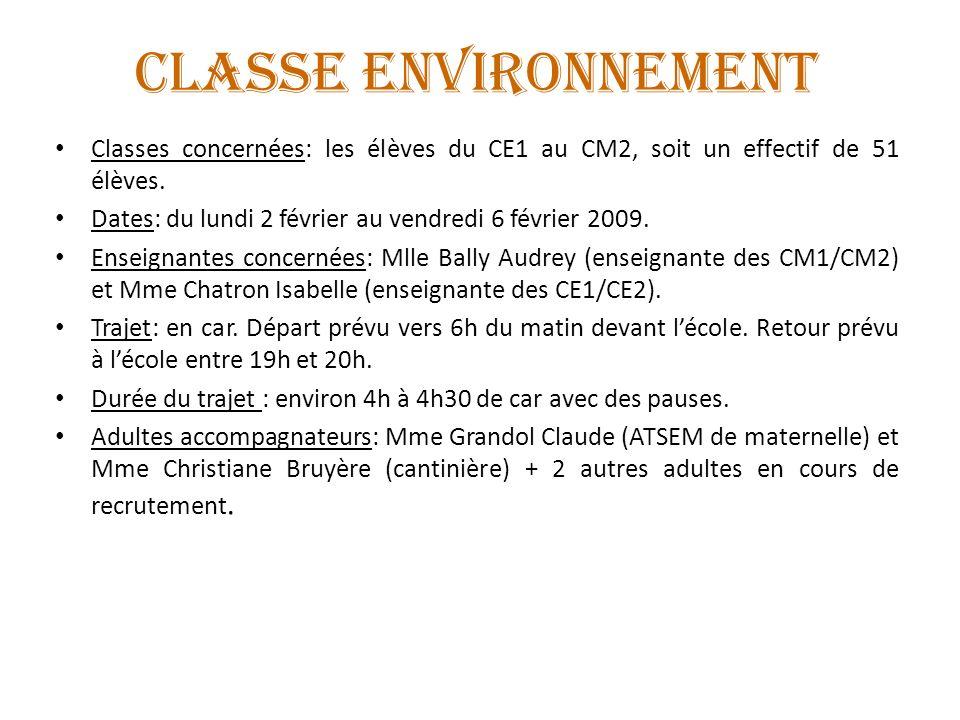 CLASSE ENVIRONNEMENT Classes concernées: les élèves du CE1 au CM2, soit un effectif de 51 élèves.