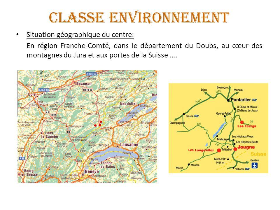 CLASSE ENVIRONNEMENT Situation géographique du centre: