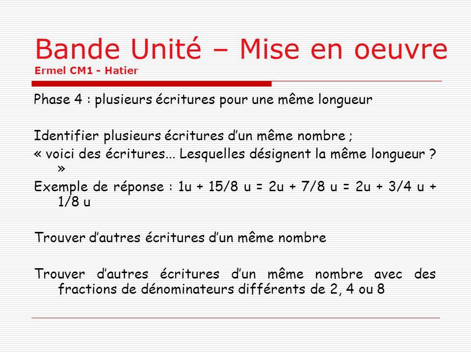Bande Unité – Mise en oeuvre Ermel CM1 - Hatier