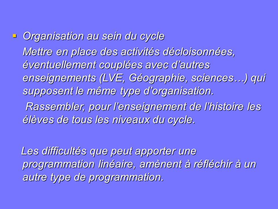 Organisation au sein du cycle