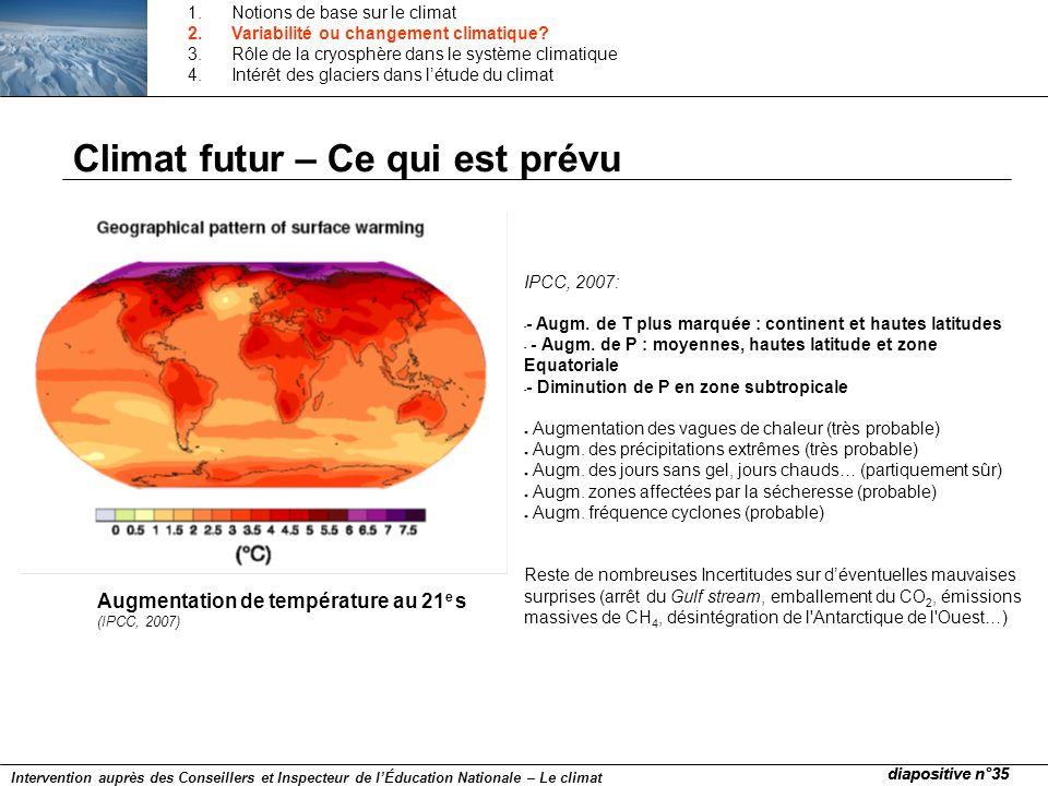 Climat futur – Ce qui est prévu