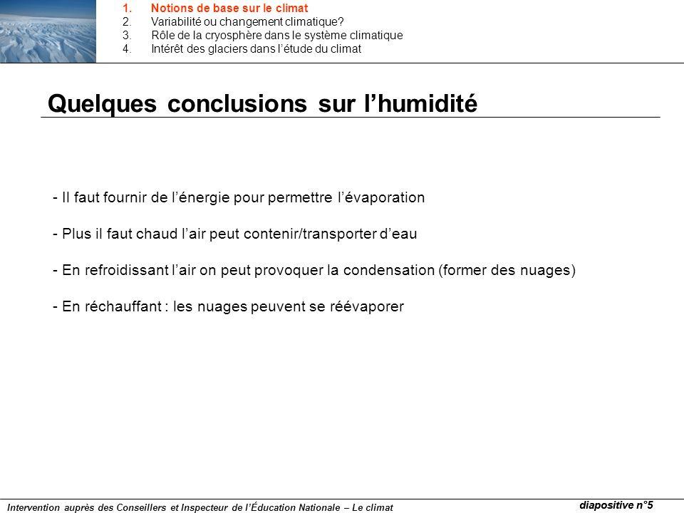 Quelques conclusions sur l'humidité