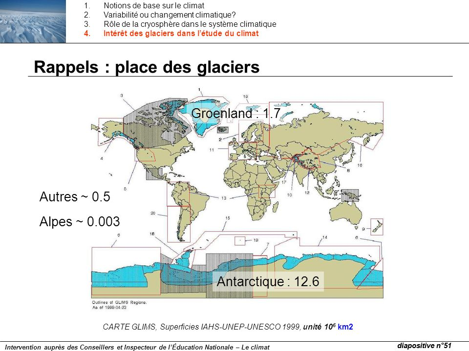 Rappels : place des glaciers