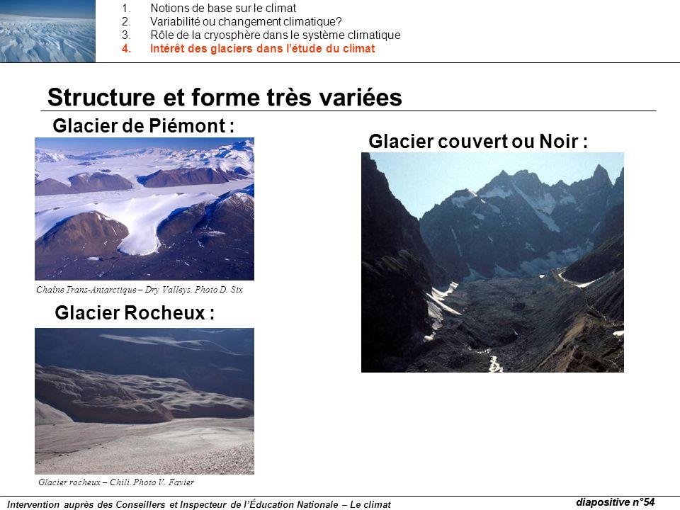Structure et forme très variées