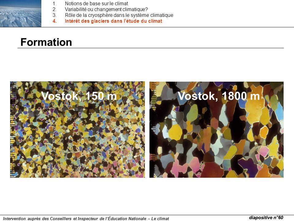 Vostok, 150 m Vostok, 1800 m Formation Notions de base sur le climat