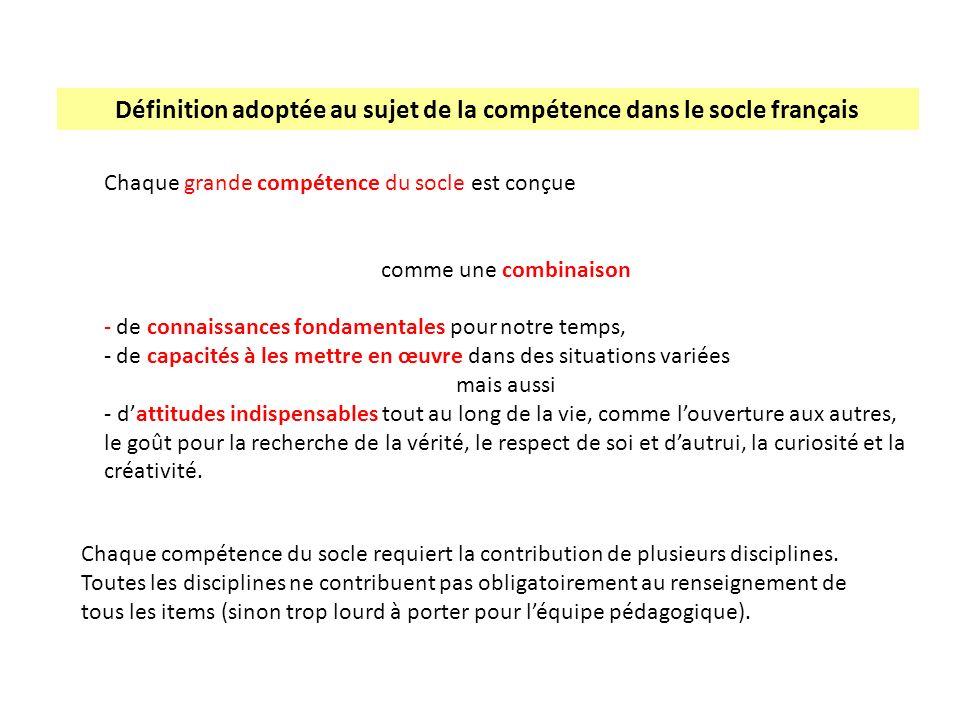 Définition adoptée au sujet de la compétence dans le socle français
