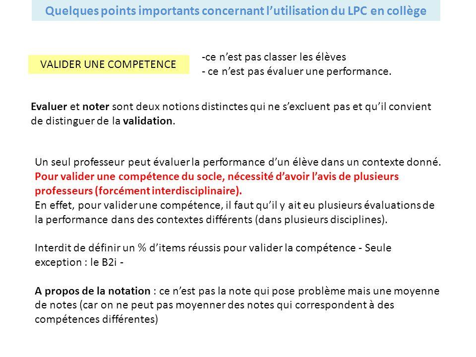 Quelques points importants concernant l'utilisation du LPC en collège