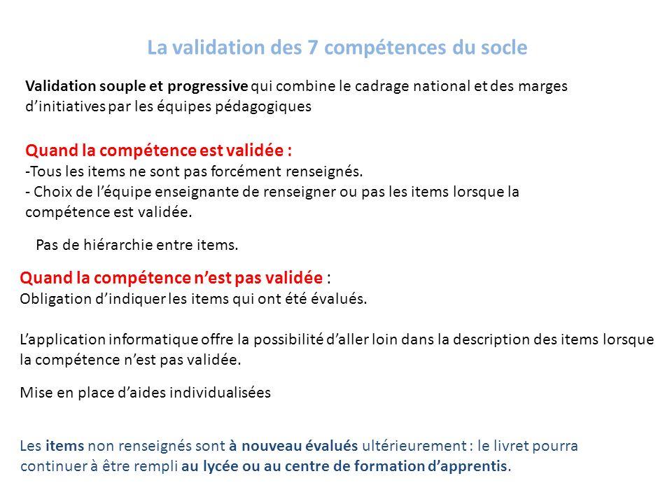 La validation des 7 compétences du socle