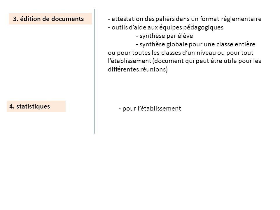 3. édition de documents - attestation des paliers dans un format réglementaire. - outils d'aide aux équipes pédagogiques.