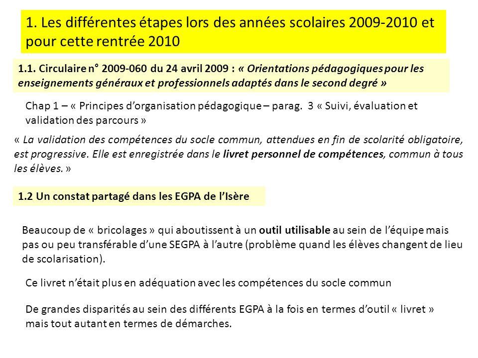 1. Les différentes étapes lors des années scolaires 2009-2010 et pour cette rentrée 2010
