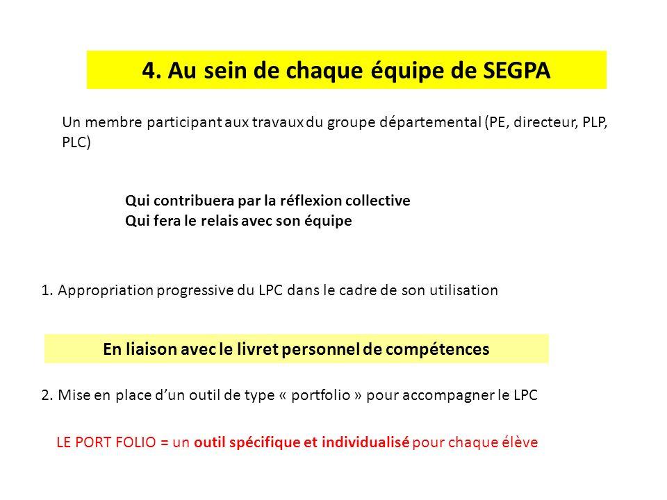 4. Au sein de chaque équipe de SEGPA