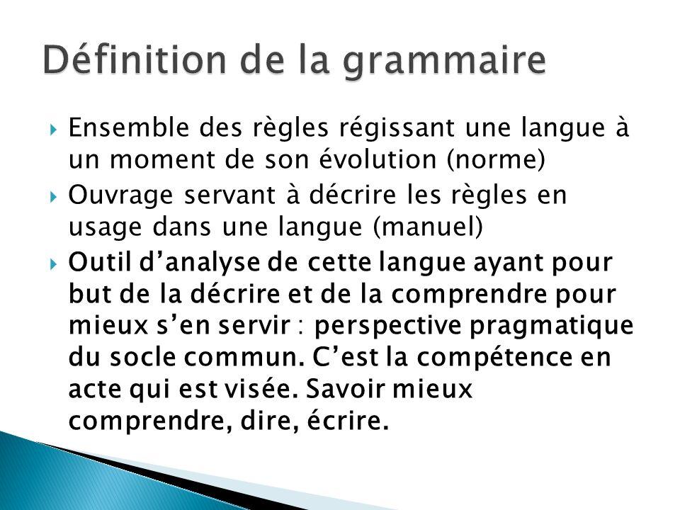 Définition de la grammaire