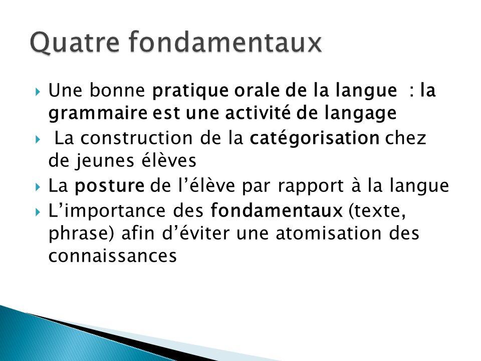 Quatre fondamentaux Une bonne pratique orale de la langue : la grammaire est une activité de langage.