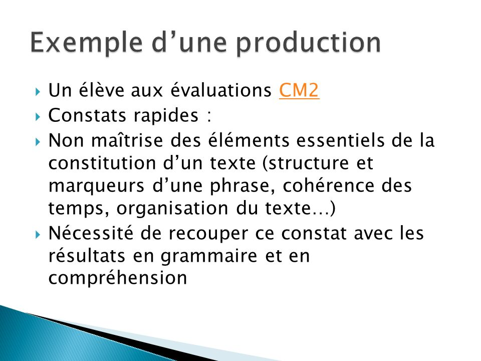 Exemple d'une production