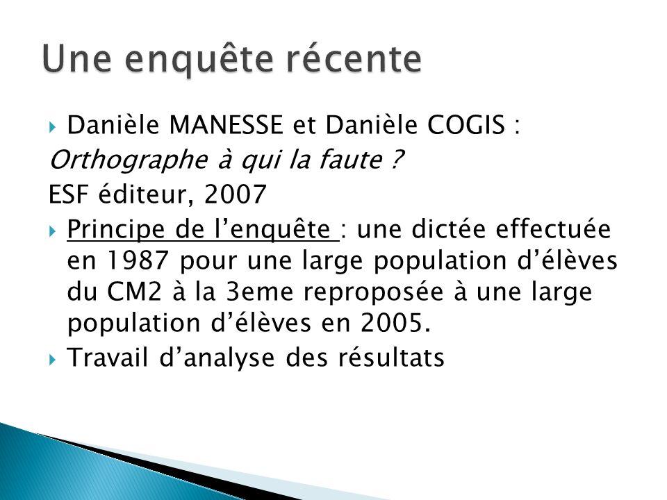 Une enquête récente Danièle MANESSE et Danièle COGIS :