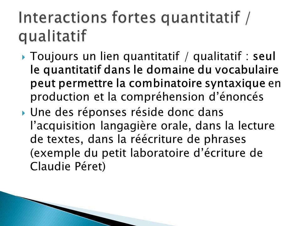 Interactions fortes quantitatif / qualitatif